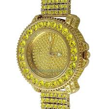lab made diamond watches lemonade big rocks iced out watch 6 row band breitling lab made