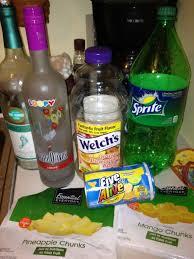 1 big bottle of moo 1 almost full bottle of loopy vodka 1 bottle orange pineapple apple juice 1 can of five alive juice concentrate