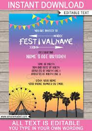 Coachella Party Invitations Template Bright Colors