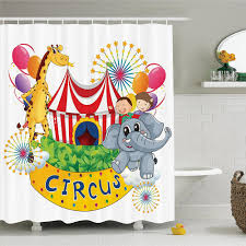 circus decor shower curtain set circus show with kids and animals smiling magician children happiness bathroom accessories