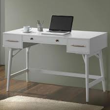 white gray solid wood office. Desk Interesting Rectangle White Solid Wood Modern Writing Storage Drawer In Left And Right One Gray Office T