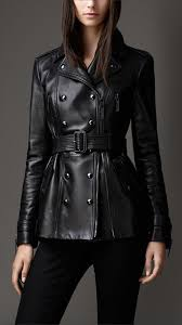 burberry leather biker detail trench jacket