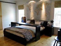 black wooden ikea bedroom furniture with map portray hang on white wall color also spot light fixtures