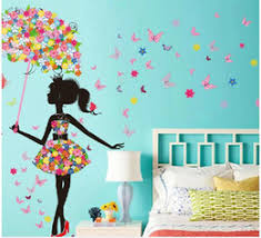 3d butterfly flower romantic wall sticker gorgeous fairy girl riding bike spring wedding room diy home removable wall decal on decal wall art nz with 3d flower wall art nz buy new 3d flower wall art online from best