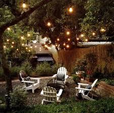 outdoor garden lighting ideas. Outdoor Garden Lighting Ideas With White Adirondack Chairs For Elegant Backyard