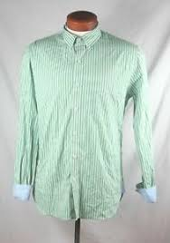 Details About Brooks Brothers Mens Green White Ribbon Striped Button Front Shirt Size M