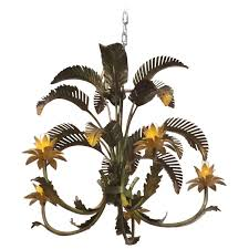 palm beach frond tree leaf leaves chandelier metal tole vintage chinoiserie for