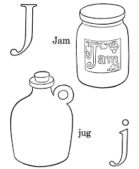 Letter J Words Coloring Page 600x734