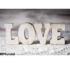 love wooden letters wall mural