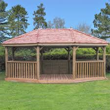 forest garden 6m premium oval wooden gazebo with benches double tap to zoom