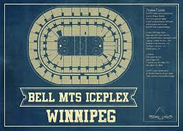 Mts Arena Seating Chart Winnipeg Jets Bell Mts Iceplex Seating Chart Vintage Hockey Print