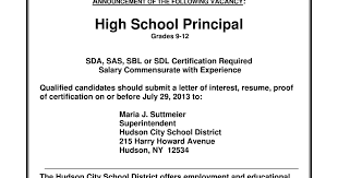 Psssst Hudson Is Looking For A High School Principal Unmuffled