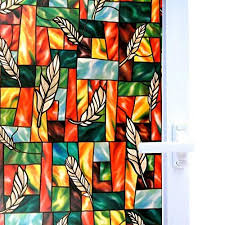 bloss privacy window stained glass window non adhesive static cling glass for door home office hotel bathroom living room 17 7 inch by 78 7 inch