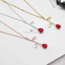 whole new red rose flower necklace silver rose gold flower pendant chains fashion necklace for women fashion jewelry drop silver heart pendant
