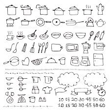 手描きの料理 台所用具スケッチアイコン イラスト素材 5080437