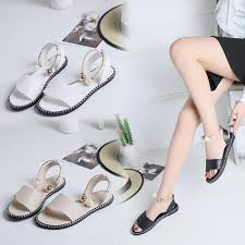 CHAMSGEND 2019 <b>New Summer</b> Women's solid color pearl <b>flat</b> ...