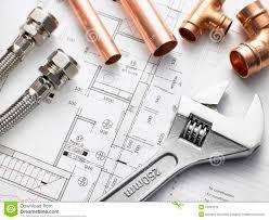 Plumbing Equipment On House Plans Stock Image Image Of