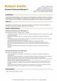 Assistant Restaurant Manager Resume Samples | Qwikresume