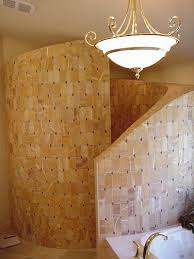 walk in shower with curved walls