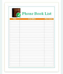 Phone Number List Template Soulective Co