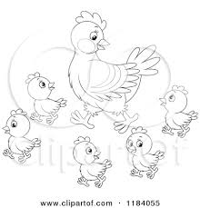 Small Picture 1184055 Cartoon Of An Outlined Mother Hen And Baby Chicks Royalty