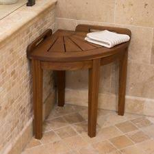 teak bathroom stools. Corner Shower Stool Teak Wood Chestnut Finish Bathroom Seat Shelf Small Handles Stools D