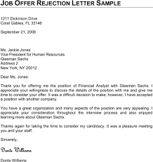 Best Solutions Of Job Refusal Letter Examples Great Thank You Letter