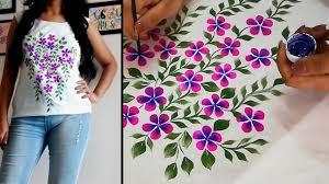 Top Textile Designers Fabric Painting Design On Top Kurti Flower Print Hand Painted Designer Top