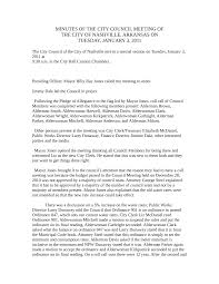 MINUTES OF THE CITY COUNCIL MEETING OF
