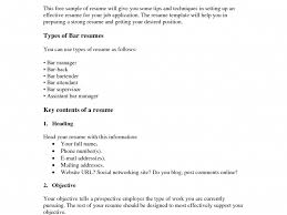 Enchanting Bar Back Resume Sketch Example Resume And Template