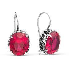 <b>Серьги</b> 3381551-<b>8</b> серебро, корунд иск., производитель Красная ...