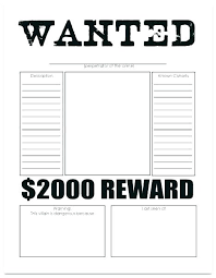 Wanted Poster Template For Pages Wanted Poster Template Black And White For Kids Most Free Printable