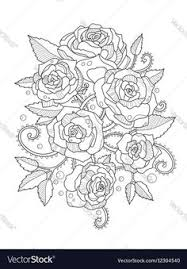 roses coloring book for s vector image by apokusay