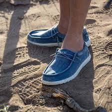 Hey Dude Shoes Size Chart Hey Dude Shoes Mens Wally Washed Shoes In Steel Blue In 2019