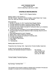 Fillable Online Synopsis Of Meeting Minutes Lake Township