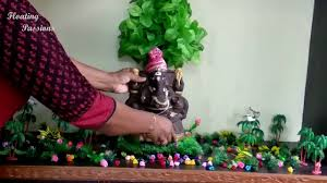 how to make eco friendly ganesh decoration at home ganpati decoration ideas for home गणपत सज वट