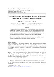 pdf a maple program to solve linear integro diffeial equations by topy ysis method