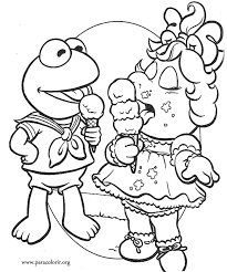 Small Picture Muppet Babies Kermit the Frog and Miss Piggy coloring page