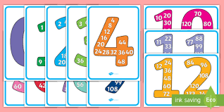 Multiples Of Numbers Chart Free Number Multiples Display Individual Posters
