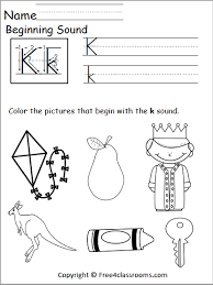 Just help your child identify the pictures and color or connect the correct sounds to make the word. Free Beginning Sounds Worksheet Letter K Free4classrooms