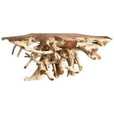 large teak root console table for