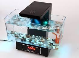 Lovely Multifunctional LED USB Desktop Aquarium Mini Aquariums Fish Tank With  Touch LED Table Lamp/ Alarm