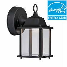 hampton bay black outdoor led wall lantern