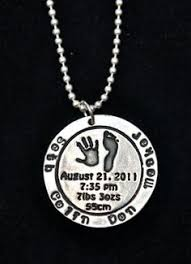 child name birth information and actual hand and foot print on a sterling silver necklace mom necklace sharon nault i love silver jewelry