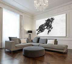 long and wide acrylic painting on canvas minimalist painting canvas art black white horse