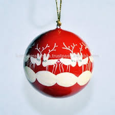 Hand Decorated Christmas Balls Paper Mache Handmade Hand Painted Christmas Reindeer Decoration 36
