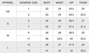 Size Chart Miss Match Group Inc