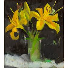 Impressionist Painting of Three Yellow Lilies by Amy Griffith Colley |  Chairish
