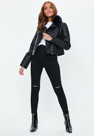missguided black faux leather biker jacket with faux fur collar lyst view fullscreen