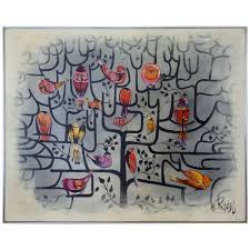 large format lee reynolds birds of a feather tree of life op pop painting for at 1stdibs